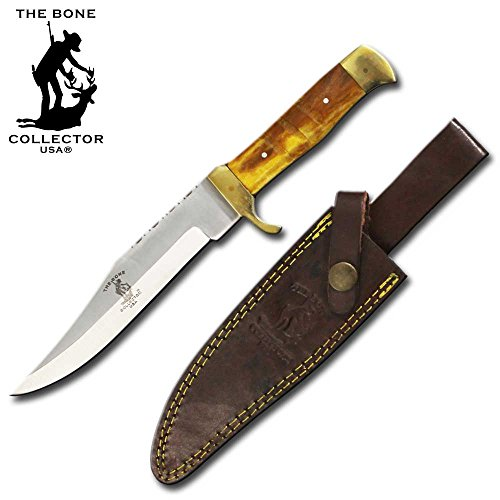 """10.25"""" Bone Collector Full Tang Hunting Knife Sharp Stainless Yellow Bone Hand Made"""