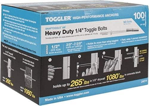 Box Hillman Toggle Wing 1//4  Zinc Plated Steel 100