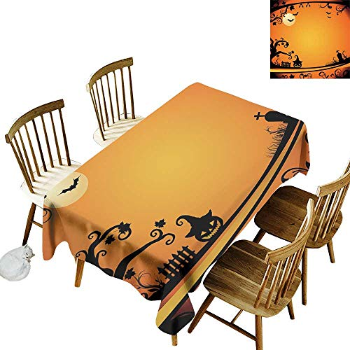 Spotted Rectangular Tablecloth W52 x L70 Vintage Halloween Halloween Themed Image Eerie Atmosphere Gravestone Evil Pumpkin Moon Orange Black Great for Holiday More -