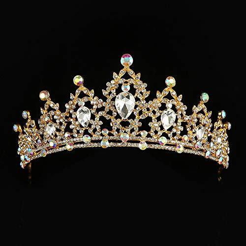 (Baroque Gold Silver AB Color Crystal Bridal Tiaras Crown Wedding Hair Accessories Rhinestone Diadem Crowns For Women Headdress Gold)