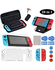 SUPERSUN 16 in 1 Accessories Kit & Carrying Case for Nintendo Switch Includes Screen Protector, Joy Con Protective Case, Adjustable Stand, Thumb Grip Caps