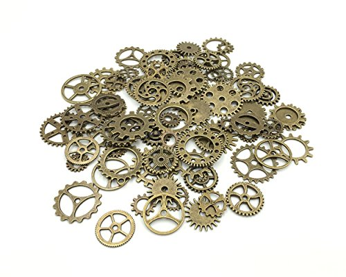 Y&Y Star 100 Gram approx 70pcs-90pcs Assorted Antique Bronze Alloy Round Clock Steampunk Gears Charms Pendant Clock Watch Wheel Gear for Crafting, Jewelry Making Accessory (Antique Bronze)