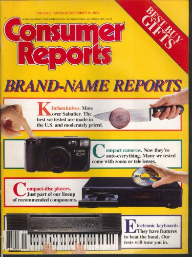 CONSUMER REPORTS Electronic keyboards, compact cameras, stereos etc 11 1988