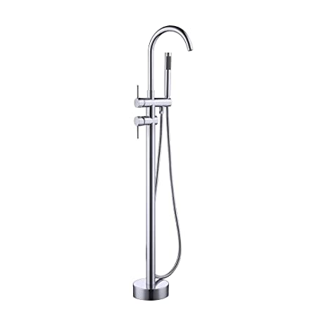KES Brass Freestanding Bathtub Faucet Floor Mounted Bath Tub Filler Faucets  With Hand Held Shower Head