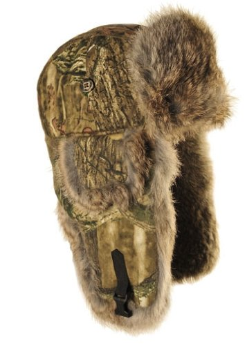 Mad Bomber Kids Lil' Camo Bomber Cap with Rabbit Fur, Mossy Oak Break Up Infinity, Small