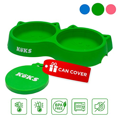 - Cat Bowls - Green Cat Food Set of Silicone Cat Feeder Stand & Pets Food Can Cover - Cat Food Bowl Set - Cat Dish Set - Kitten Food Bowl - Cat Feeding Bowls - Cat Water Bowl