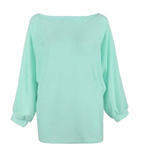 Moda Mujer Manga Larga Blusas T-Shirts Casual Suelto De Gran Tamaño De Punto Cuello Redondo Pulover ...
