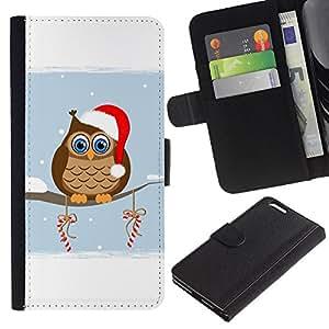 A-type (Navidad sombrero del invierno del búho) Colorida Impresión Funda Cuero Monedero Caja Bolsa Cubierta Caja Piel Card Slots Para Apple (5.5 inches!!!) iPhone 6+ Plus / 6S+ Plus