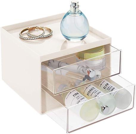 mDesign Organizador de maquillaje – Caja de almacenamiento apilable con 2 cajones para rímel, polvos, pintaúñas, etc. – Organizador de cosméticos para baño, tocador o despacho – beige y transparente: Amazon.es: Hogar