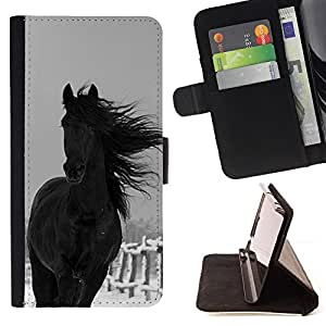 Winter Cowboy Farm Horse Black Stallion - Painting Art Smile Face Style Design PU Leather Flip Stand Case Cover FOR Samsung Galaxy S4 IV I9500 @ The Smurfs