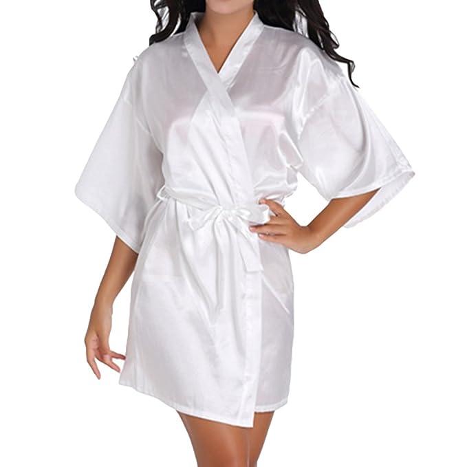 Hibote Dama de Honor de la Mujer Albornoz Batas Kimono Pijamas Vestidos de Las Mujers Inicio Robes Ropa Albornoz Ropa de Dormir: Amazon.es: Ropa y ...