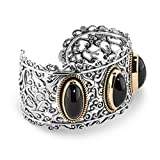 Carolyn Pollack Sterling, Brass, & Black Agate Bold Cuff Bracelet (Large)