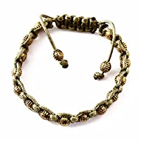 Perepaix RAVE Mens Bracelet Shang Shamballa Golden Round Beads in Plated Alloy Green Wax Cord Adjustable