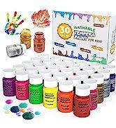 Tempera Paint, Shuttle Art 30 Colors Washable Paint for Kids, 2oz/60ml Bottle, Non-toxic Finger P...