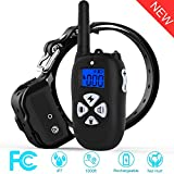 Cuupee Dog Training Collar with Remote 1800ft Rechargeable IP7 Waterproof Shock Anti Bark Electronic E-Collar with Beep/Vibration/Shock Modes for Small Medium Large Dogs, NO Hurt