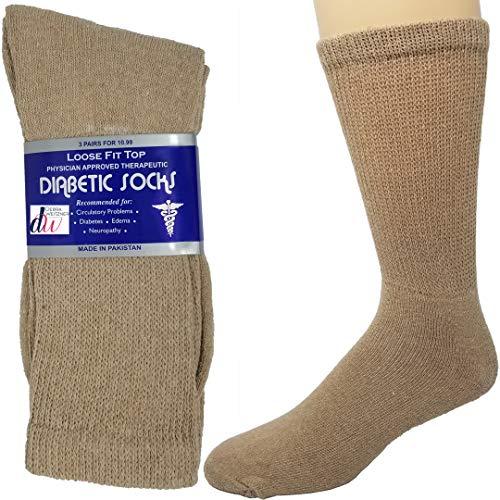 Mens Diabetic Loose Top - Diabetic Socks Mens Cotton 6-Pack Crew Beige By DEBRA WEITZNER Size 10-13