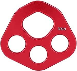Placa de Aparejo 4 Agujeros Aluminio Rojo Rescate Escalada en Roca Equipo de montañismo Múltiples Puntos de Anclaje Conector Engranaje