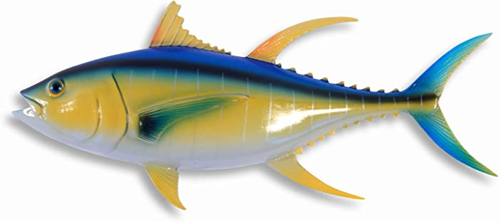 "LX Hand Painted 12"" Yellow Fin Tuna Salt Water Game Fish Wall Mount Decor Plaque"