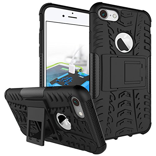 Price comparison product image Berry Accessory iPhone 8 Case, iPhone 7 Case, Heavy Duty Protective Cover Dual Layer Hybrid Shockproof Protective Case with Kickstand Hard Phone Case Cover for iPhone 7 / 8 [4.7 Inch] Black