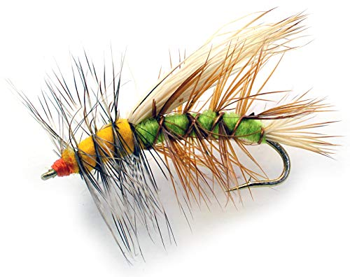 Stimulator Dry Fly Fishing Flies - 1 Dozen - Sizes 10, 12, 14 & Asst - Green & Yellow Terrestrial Pattern - Trout Flies (Assorted) (Stimulator Dry Fly)