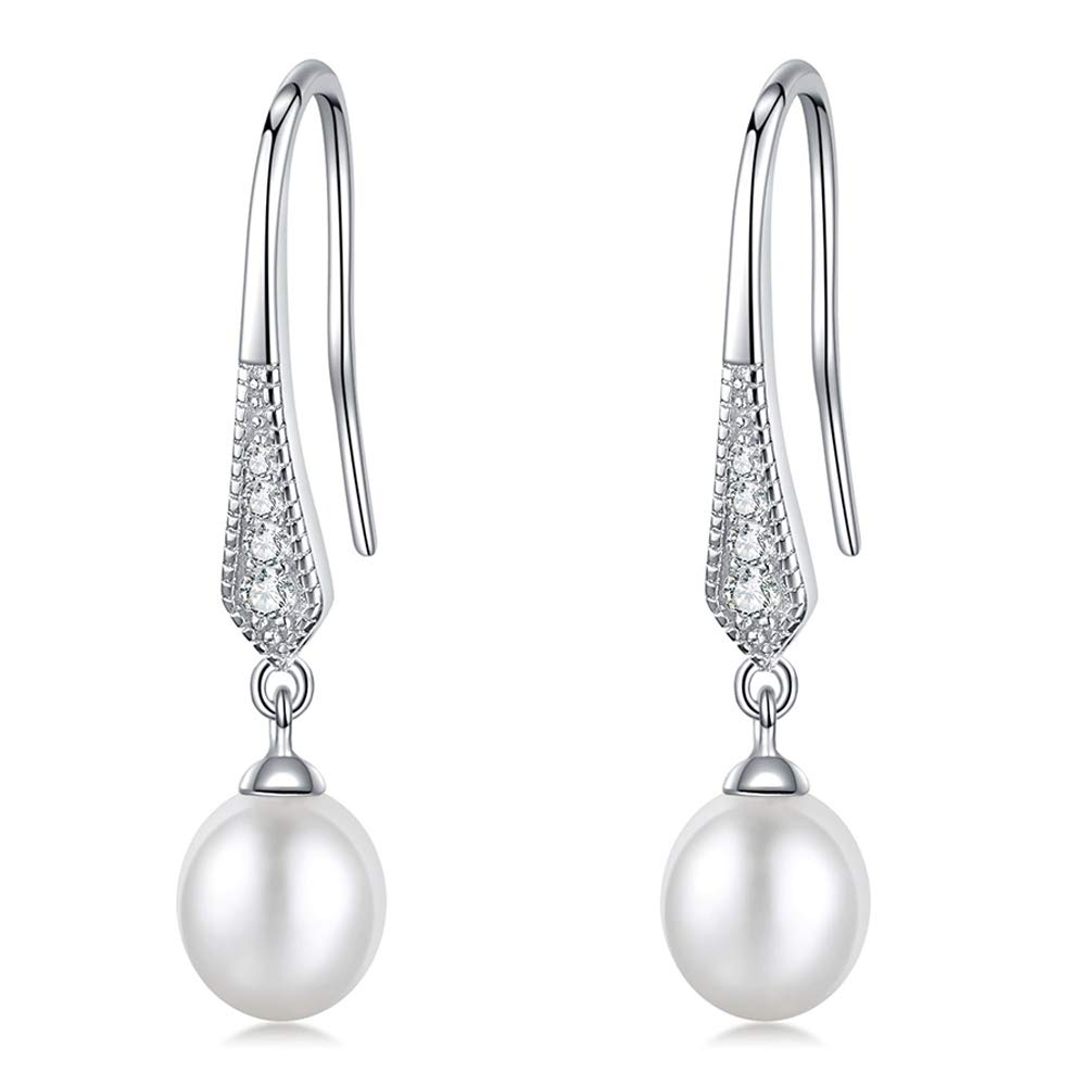 EVERU Pearl Teardrop Earrings for Women with 8.0-9.0mm AAAA+ Freshwater Cultured Pearls Dangle 925 Sterling Silver 5A Cubic Zirconia Hook Earring Jewelry