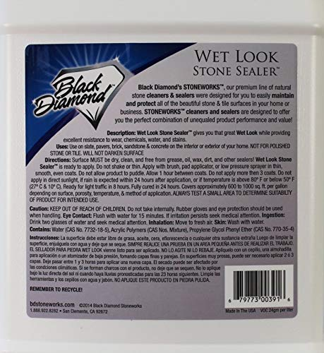 Black Diamond Stoneworks Wet Look Natural Stone Sealer Provides Durable Gloss and Protection to: Slate, Concrete, Brick, Pavers, Sandstone, Driveways, Garage Floors. Interior or Exterior. 2-Gallon by Black Diamond Stoneworks (Image #1)