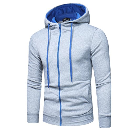 Men's Full Zipper Hoodie Casual Top Coat Solid Color Slim Fit Sport Hooded Jackets (L, Gray - Shipping Business Day Second