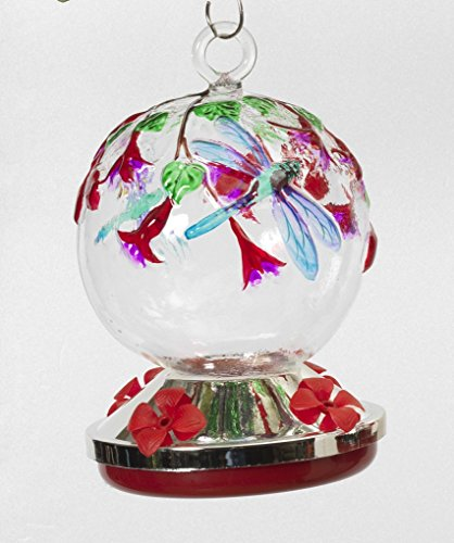 Beautiful and Pretty Hummingbird Feeder with Butterfly Accents Home and Garden Decor ~ Hand Blown Glass (Dragonfly and ()