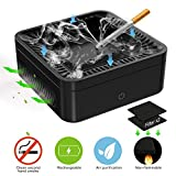 GESPERT Multifunction Ashtray Air Purifier Secondhand Smoke Remover Negative Ion Air Freshener USB Rechargeable for Use at Home/Office/Car and More - 2 Pcs Filter Nets Included (Black)
