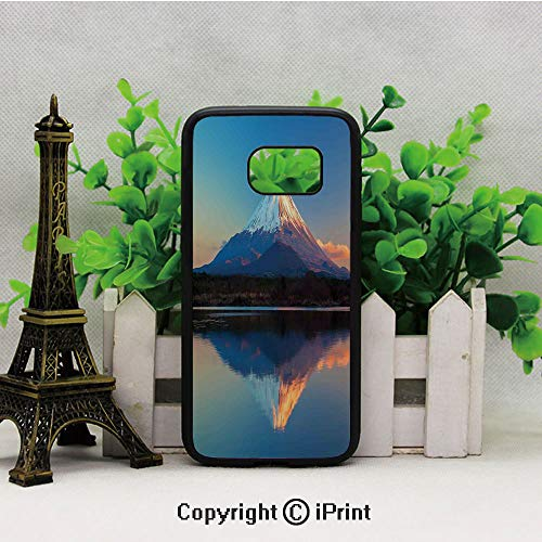 Mount Fuji and Lake Shoji Picture Clear Sky Sunset Photo Print Samsung Galaxy S7 Case Hard Back Shock Drop Proof Impact Resist Protective Case for Samsung S7 ()
