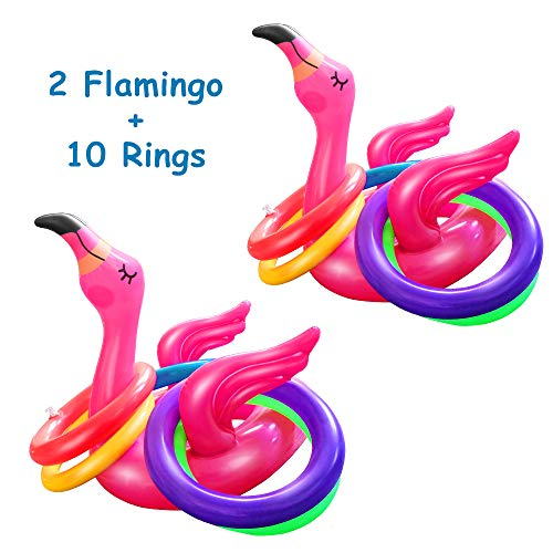 Hapdoop 2-4 Players Inflatable Flamingo Ring Toss Game Pool Beach Party Games for Family Kids Adult Summer Party Favor Decoration (2 Flamingos 10 Rings)