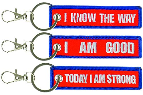Motivational Keychains, Set of 3 Inspirational Keychains Quotes– Today I am strong! I am good! I know the way! – Positive Embroidered Key Chain Tag Great as Graduation Gift, Birthday Gift by OGQuality