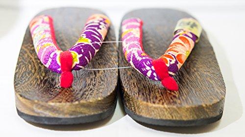 De Paulownia Crisantemo Púrpura Calzado japón Diseño rojo L Hecho Madera Tamaño Geta 26cm Sandalia Tradicional xawqIqRZE