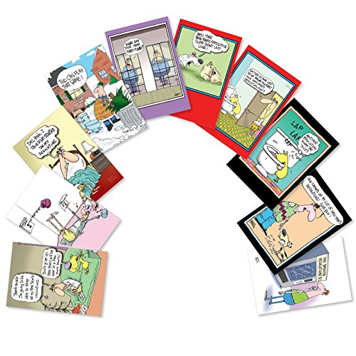 Assorted Boxed of 10 'New Year's Punch Lines' Humorous New Year Cards with Envelopes - Variety Box of Funny Greeting Card Designs - Happy Holidays and Seasons Greetings w/ Comic Jokes A5639NYG-B1x10