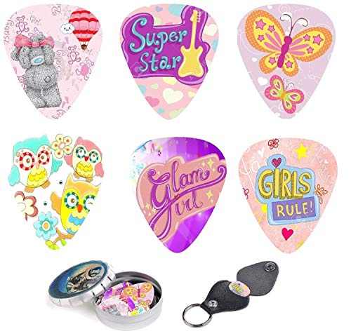 Kids Guitar Picks For Girls Pink Butterfly Cool 12 Medium Celluloid Picks W/FREE BONUS Sleek Tin Box & Pick Holder. Best Gifts for Girls Kids Teens Daughter Granddaughter Women Birthday