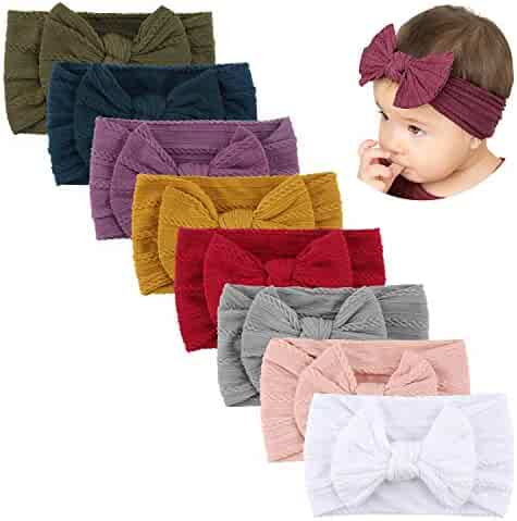 Makone Handmade Stretchy Nylon Headband with Bows Pom Pom Bun 5.5 inch Big Hair Bow Headband for Infant Baby Girls