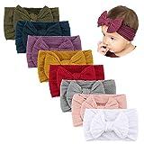 Makone Handmade Stretchy Nylon Headband with Bows Pom Pom Bun 5.5 inch Big Hair Bow Headband for Infant Baby Girls-8PCS Tie Bows: more info