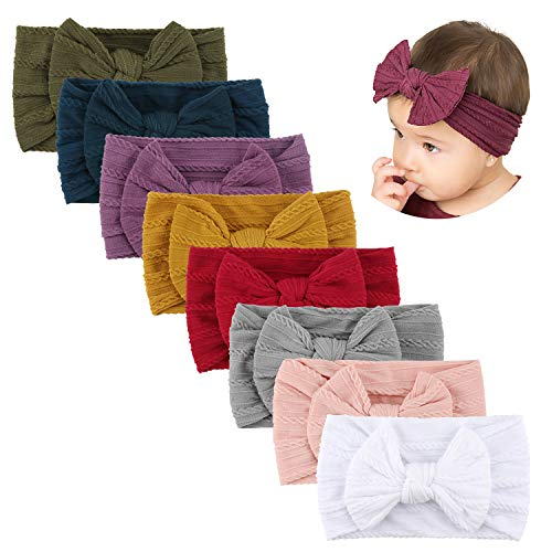 Makone Handmade Stretchy Nylon Headband with Bows Pom Pom Bun 5.5 inch Big Hair Bow Headband for Infant Baby Girls-8PCS Tie Bows