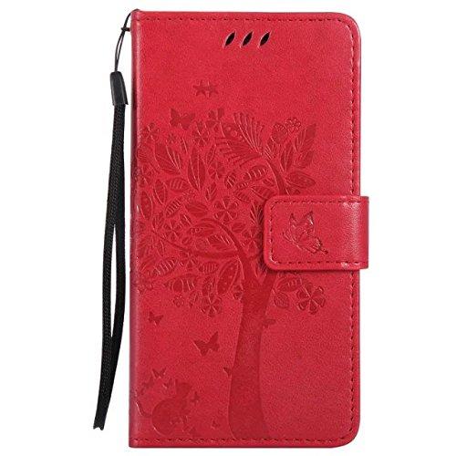 SRY-Conjuntos de teléfonos móviles de Huawei Para la cubierta del caso de Xiaomi Hongmi Redmi 3s, grabando las flores presionadas El gato y el árbol modelan el color sólido Caso de cuero de la PU La c 7