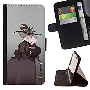 Momo Phone Case / Flip Funda de Cuero Case Cover - Arte Aristocrat Mujer Sombrero Negro Paraguas - Apple Iphone 6