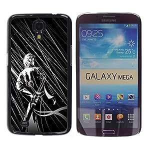 YiPhone /// Prima de resorte delgada de la cubierta del caso de Shell Armor - B & W Guerrero japonés - Samsung Galaxy Mega 6.3