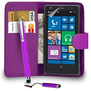 123 Online Nokia Lumia 1020 Violeta Cartera de cuero del caso del tirón de la cubierta Pouch + Mini Touch Stylus Pen + Grandes Touch Stylus Pen + 2 Protector y Pulido x Screen Cloth