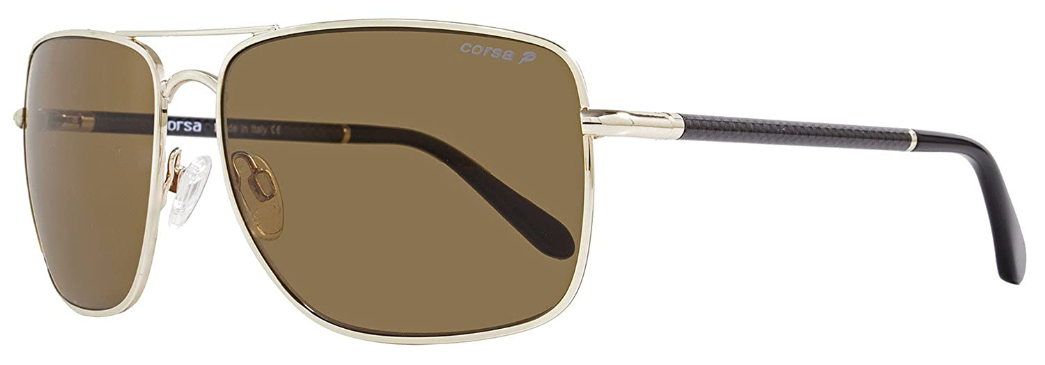 dc08f1cae7b Amazon.com  Corsa Rectangular Sunglasses Enzo C01 Light Gold Carbon Fiber  Polarized  Clothing