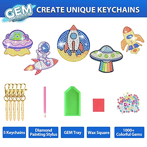 Arts and Crafts for Kids Ages 8-12 - 5D Diamond Painting Kits for Kids - Create Your Own Gem Keychains by Number DIY Craft Gift for Girls Boys Ages 6-8 8-10 10-12