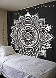 Madhu International Black White Mandala Tapestry, Mandala Wall Tapestries, Mandala Wall Art