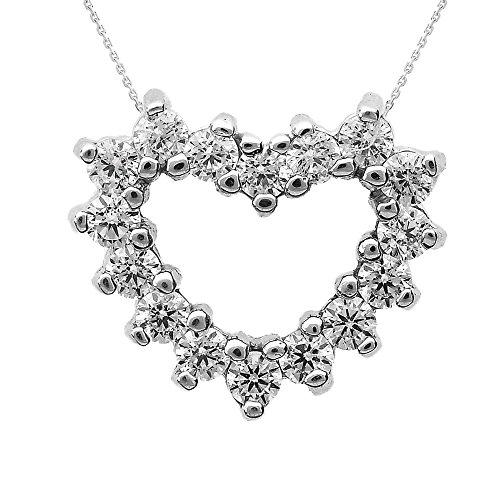 Collier Femme Pendentif 10 ct Or Blanc Oxyde De Zirconium Ouvert Cœur (Livré avec une 45cm Chaîne)