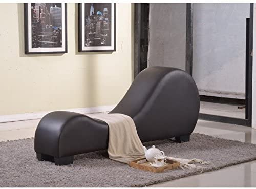 Modern Faux Leather Yoga Stretch Relaxation Chaise Lounge with Three-inch PVC Padding, Solid Wood Frame, Black Plastic Legs, Foam Filled Upholstery, Chocolate Expert Home Guide by Love US