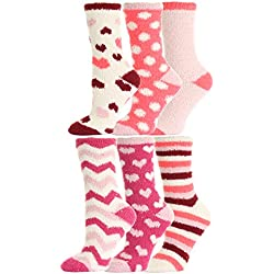 Valentine's Day Fuzzy Love Socks,hearts Print,6 Pairs,size 9-11.