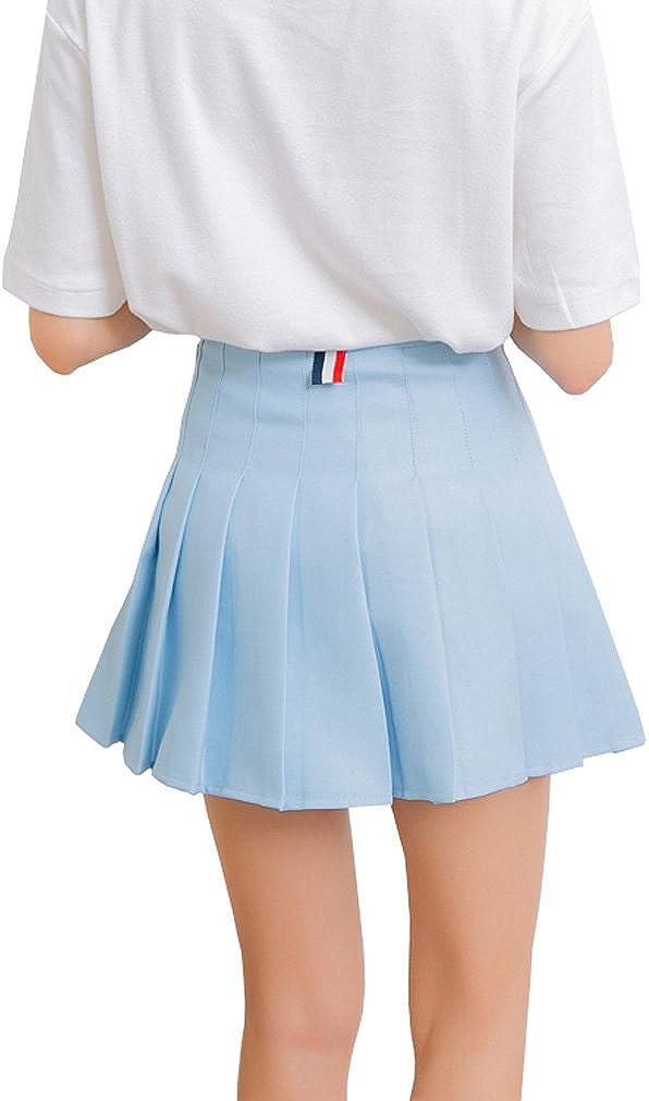 Hoerev Frauen M/ädchen Kurze hohe Taille gefaltete Skater Tennis Schule Rock