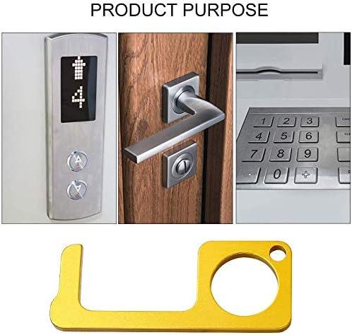 facile /à transporter garder les mains propres Ouvre-porte EDC sans contact 2 pi/èces bouton tactile ouvre-porte en laiton sans contact outil cl/é pour poign/ée de porte publique ext/érieure